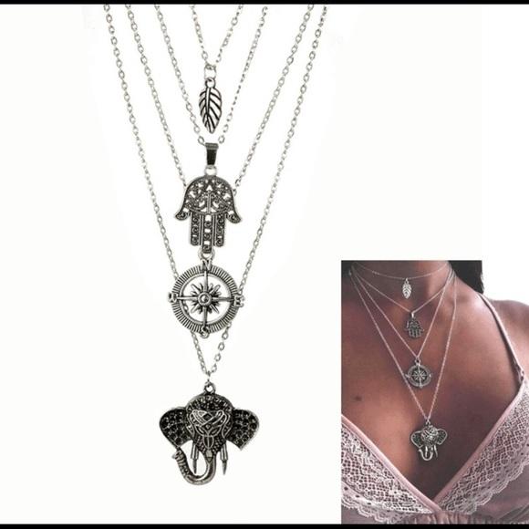 503660be2349 Boho Style Elephant Layered Silver Necklace